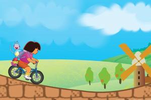 朵拉带小猴骑单车小游戏
